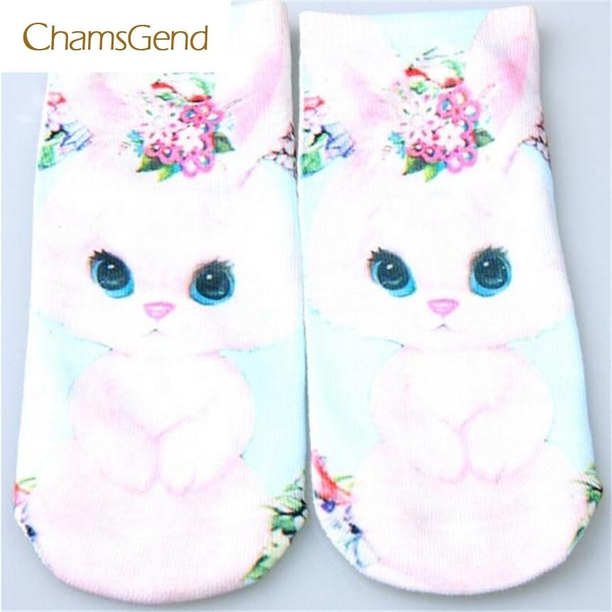 CHAMSGEND 2017, Fashion Novelty Cute 3D Socks Beauty Short Women Socks Printed Funny Socks Womens Cotton Sock,May08
