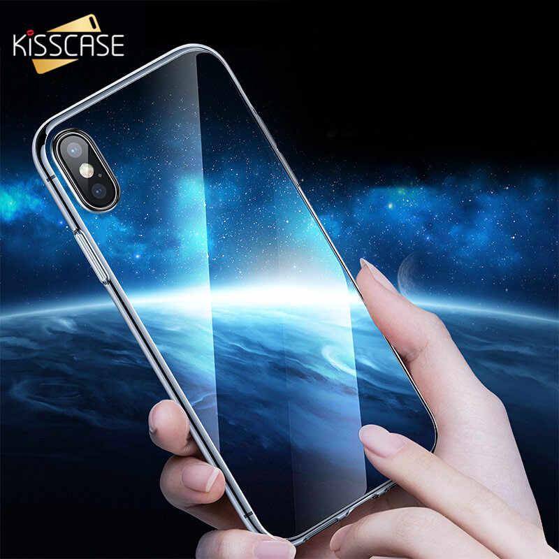 KISSCASE جديد واضح TPU الهاتف حقيبة لهاتف أي فون X Xs ماكس 7 8 6 6 S HD شفافة خزائن هاتف آيفون 5 5 S se 7 8 6 زائد XR الغطاء الخلفي