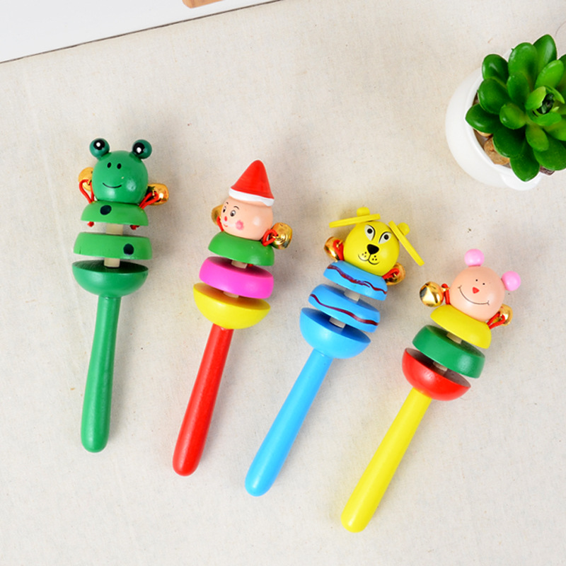 Baby Rattle Ring Wooden Handbell Baby Toys Musical Instruments 0-12 Months Colorful Music Education Wooden Toy