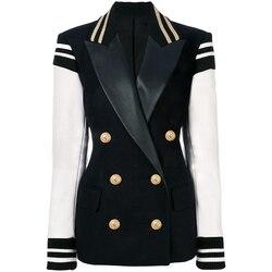 HIGH STREET New Fashion 2019 Stylish Blazer Jacket Women's Leather Sleeve Patchwork Lion Buttons Blazer