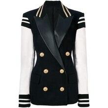 Yüksek sokak yeni moda 2020 şık Blazer kolej ceketi kadın deri kollu Patchwork aslan düğme Blazer