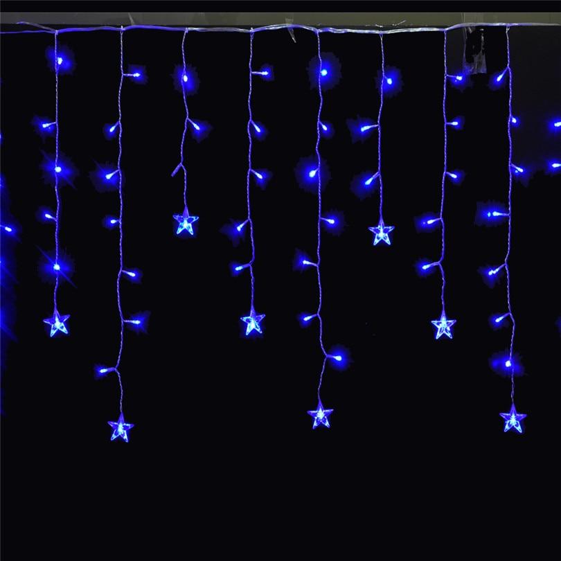 Trecaan 5M / 3.5M Femstjärnig String Stil Curtain Lights Fairy Xmas - Festlig belysning - Foto 2