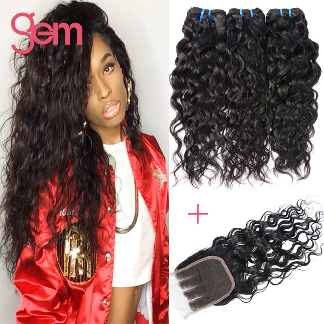 Malaysian Virgin Hair With Closure 4 Bundles Water Wave Curly Hair Middle Three Free Part Closure Ali Moda Hair With Closure 1B