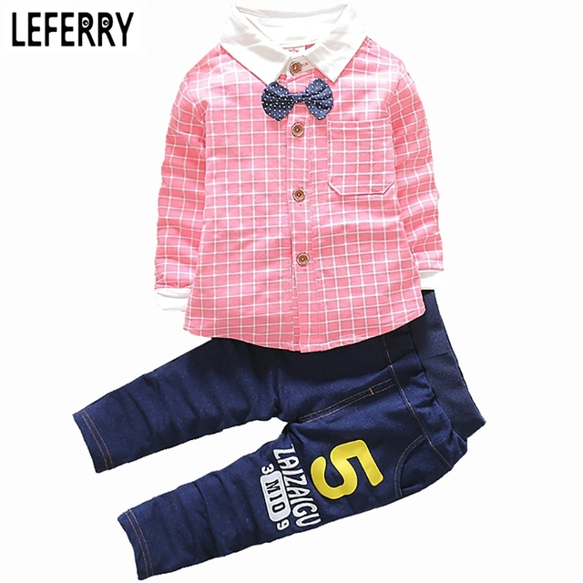 2016 Spring Baby Boys Clothing Sets Plaid Shirt + Trousers Kids Clothes Boys Set Toddler Boy Clothing Wedding Birthday Party