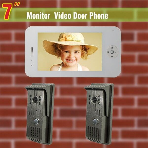7 inch monitor video door phone intercom doorbell 2 Camera video doorphone intercom wired home intercom system doorbell intercom