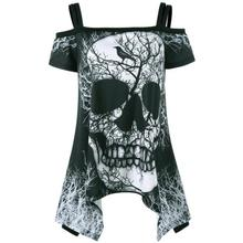 2017 New Fashion Women Off Shoulder Summer Tops Short Sleeve Skull Loose Casual Plus Size Blouses Shirts 5XL LJ9986X