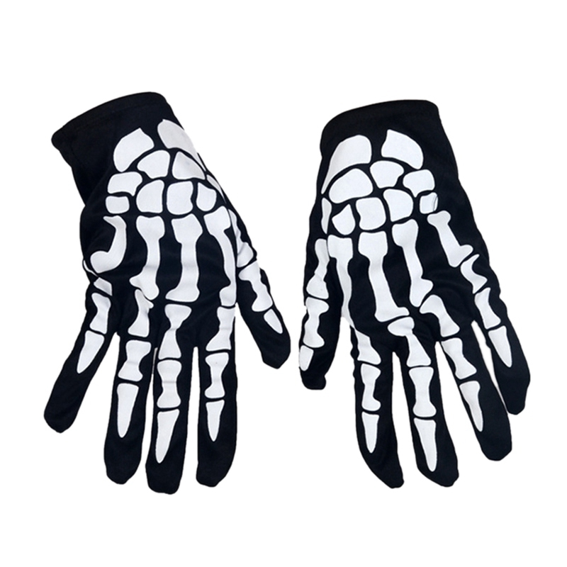 Adult Halloween Masquerade Gloves Adults Unisex Fashion Horror Skull Ghost Gloves Hand Cover Props Scared Halloween Party Gloves