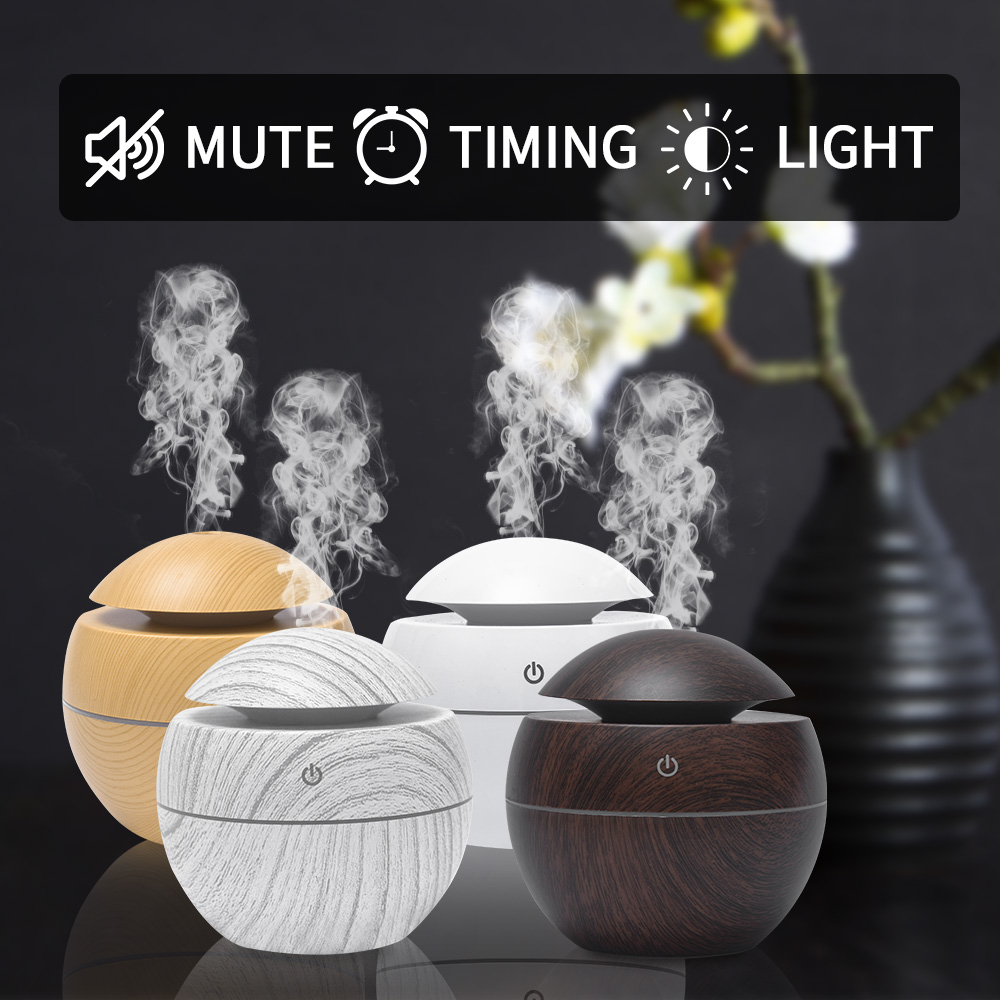 Mini Air Humidifier USB Ultrasonic Aroma Diffuser Wood Grain 7 LED Light  Electric Essential Oil Diffuser For Home Aromatherapy