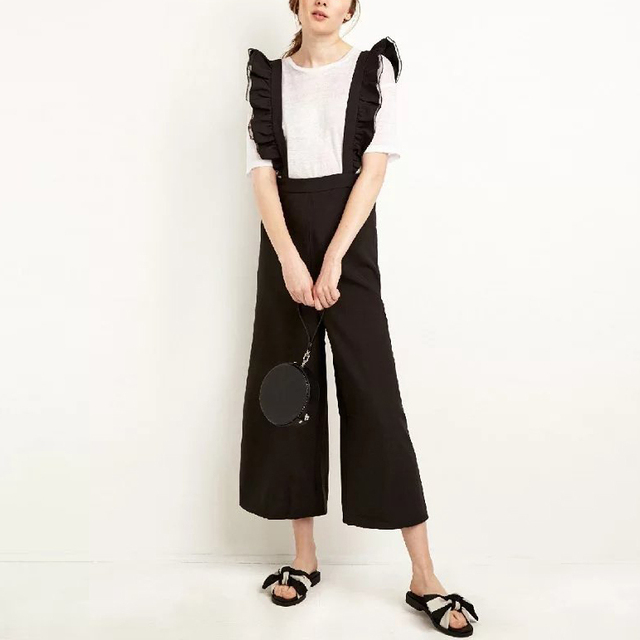Novo Design Das Mulheres Perna Larga Calças Flouncing Magro Macacão Preto Selvagem Casual Macacões Longos LBHH0922