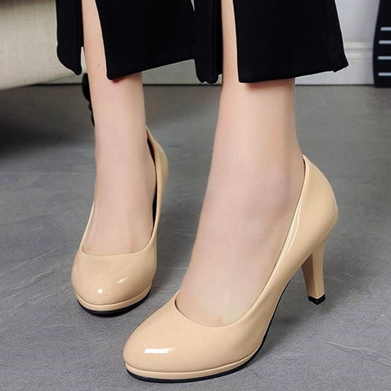 Plus size 34-42 Women Shoes High Heels Pumps Woman White Wedding Shoes Office Lady Dress Shoes Slip on basic zapatos mujer 2403 basic pump