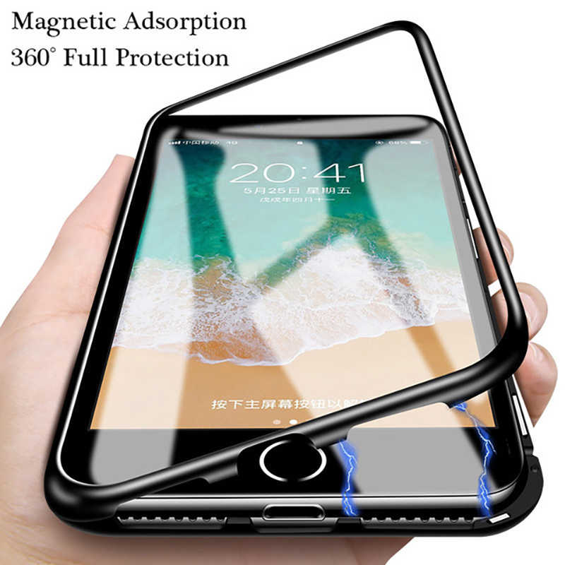 NEW 360 Double Sided Magnetic Adsorption Phone Case for iPhone 8 7 6 6S Plus X XR XS Max Metal Magnet Tempered Glass Cover Caqa