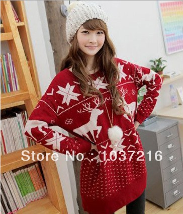 a2bf8def80f Christmas jumpers Long Sleeve snowflake Cute loose sweater dress Red  reindeer kintted Sweaters long tops for legging Women
