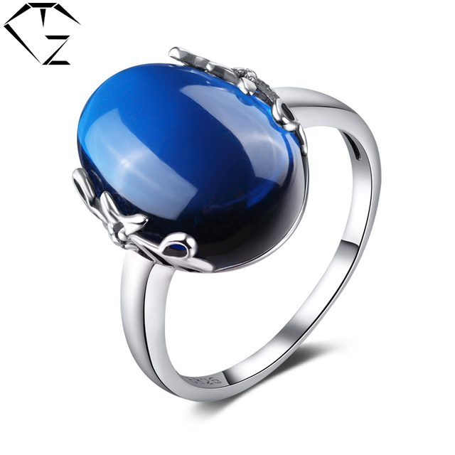 GZ Vintage 100% S925 Solid Thai Silver Ring Fine Jewelry Blue Corundum Green Agate Pure 925 Sterling Silver Rings for Women LR23