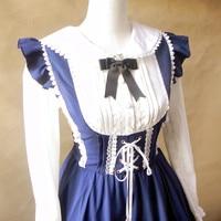 Principessa Dolce lolita complessiva primavera Vintage Alice amo Morbido gilet abito di pizzo Joker ball gown bella rosa navy vestito generale YWW01