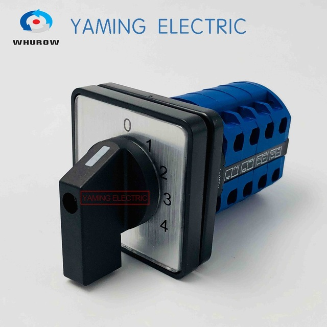 LW26-20/4 4 positions Selector Cam switch 4 phase multi-position 20A 660V Changeover rotary switch 16 terminals YMW26 electric rotary selector 4 position 6 terminal changeover switch 20a 660v