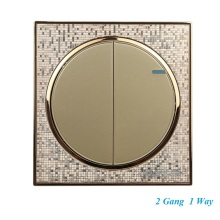 Luxury Champagne Gold Wall Switch 2 Gang 1 Way Single Control Light Switch Round Button Switch