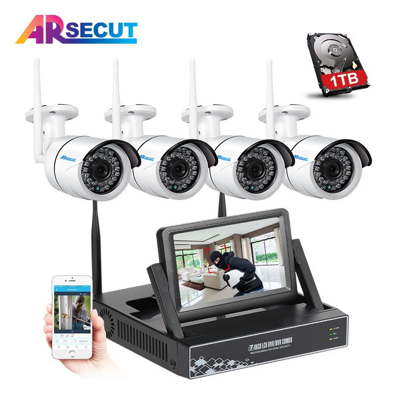 4CH 1.3MP Wireless NVR Video Surveillance Recorder CCTV System+7'LCD&P2P 960P HD Outdoor IR WIFI IP Security Camera Kit+1TB HDD 1tb hdd cctv system 4ch h 264 wireless nvr security video recorder p2p 1 3mp outdoor ir wifi ip camera 960p surveillance camera