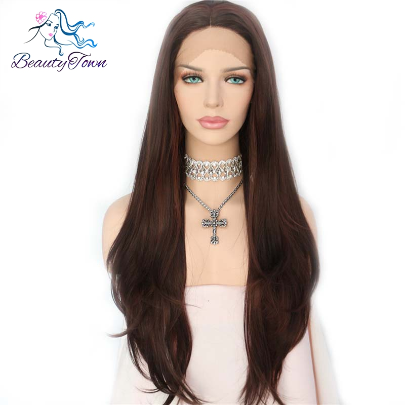 BeautyTown Brown Highlight Soft Natural Straight Heat Resistant Fiber Hair Blogger Daily Makeup Synthetic Lace Front