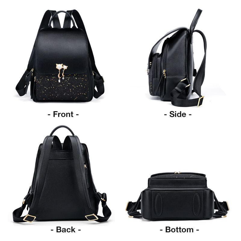 Foxer Mewy Women Leather Patchwork Zipper Backpack Black
