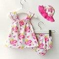 Meninas do bebê Roupas de Praia Definir 3-Piece Top, Short & Ternos Floral Chapéu de Sol Da Criança Roupa de Verão Menina infantil roupas