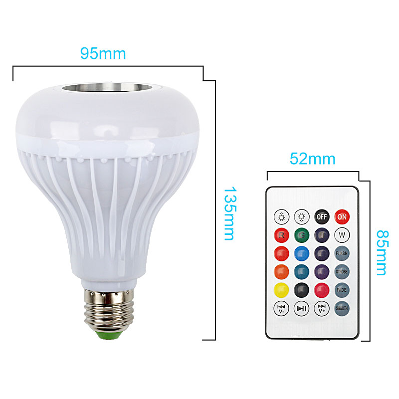 JLAPRIRA Smart RGB RGBW E27 Wireless Bluetooth Speaker Bulb Music Playing Dimmable LED Light Lamp with 24 Keys Remote Controller - 6