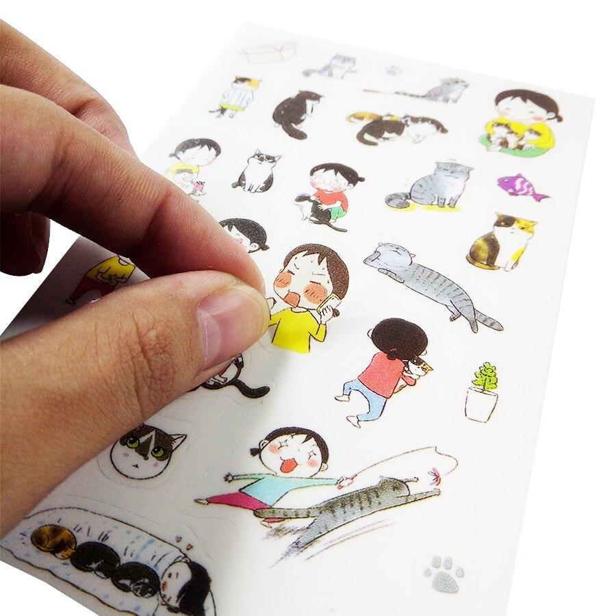 Купить с кэшбэком 15packs/lot Cute Love Cat series multifunctional PVC sticker set  Diary Sticker Scrapbook Decoration Stationery Stickers