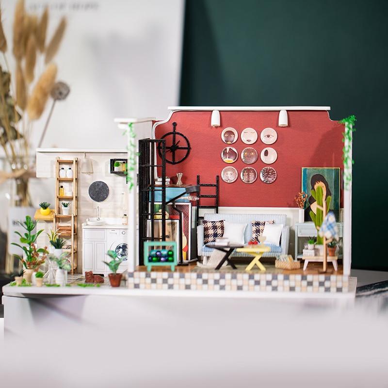 Bricolage maison de poupée meubles Miniature la fille de l'ancienne ruelle du temps maison de poupée jouets pour enfants familles mignonnes LOL maison
