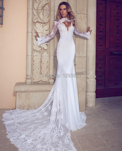 Sexy Wedding Dress Lace Mermaid Turtle Neck Long Sleeve Backless
