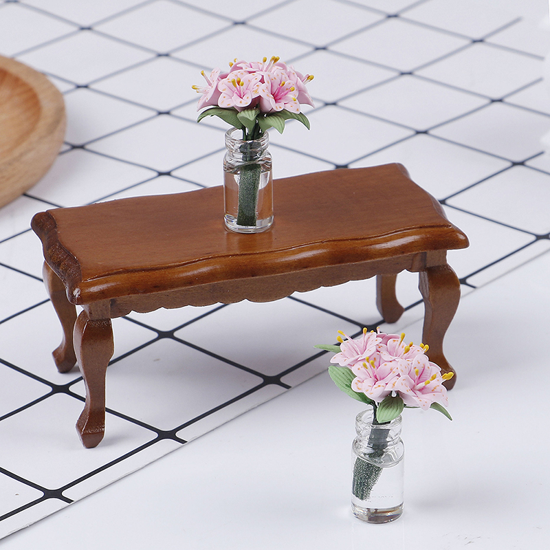 1/12 Dollhouse Miniature Mini Wooden Coffee Table Simulation End Table Furniture Toys For Doll House Decoration Accessories