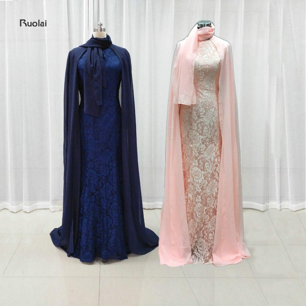 Новое поступление 2017 года розовый Арабский мусульманский Вечерние платья из шифона хиджаб длинным рукавом Кружева мусульманин вечернее пл…