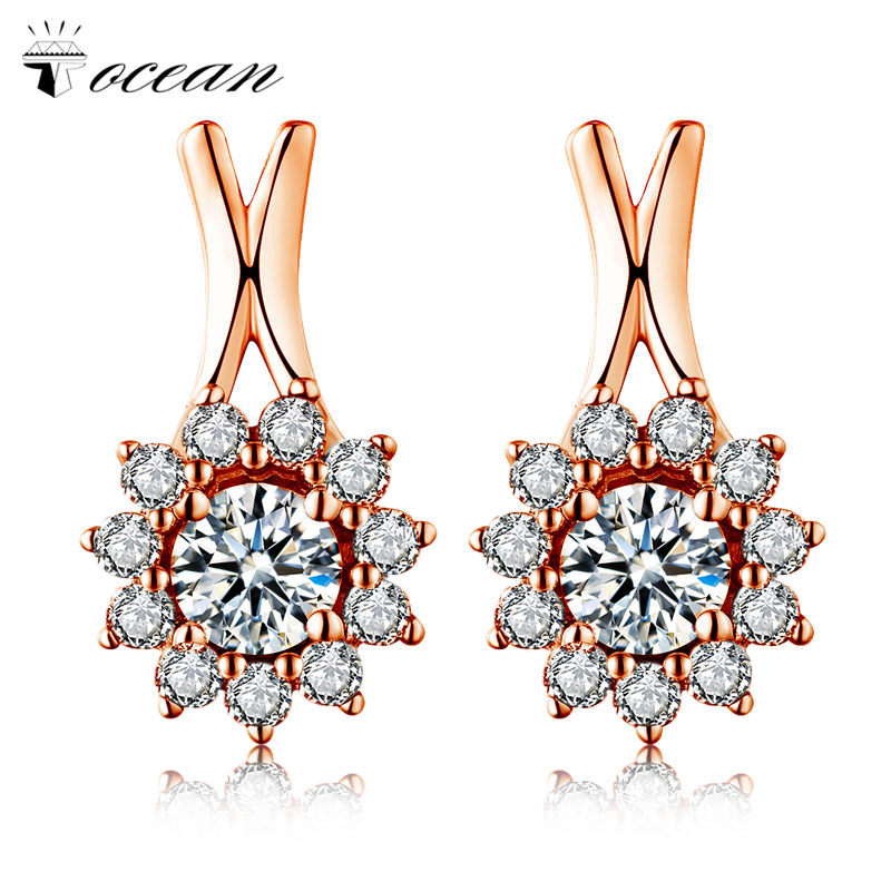 Tocean Rose Gold Color Cute Flower Sunshine Jewelry Wedding Stud Earrings for Women AAA Zircon Engagement Accessories Gift A414