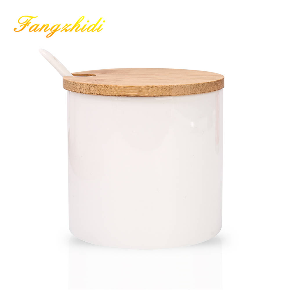 3pcs Ceramic Food Storage Containers with Bamboo Lid Modern Design
