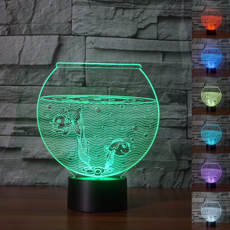 1pcs 3D Lamp Fish Tank Colorful Nightlight 3D Optical Illusion Lamp Touch Dimmable Desk Light As Bedside Lamp Child Light Toys