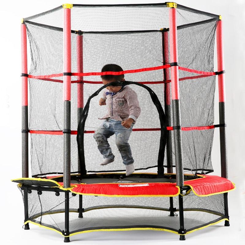 Grand Trampoline pour 2-6 ans enfants 50 kg chargement Semi-fermé sécurité Net videur lit de saut équipement de Fitness à domicile