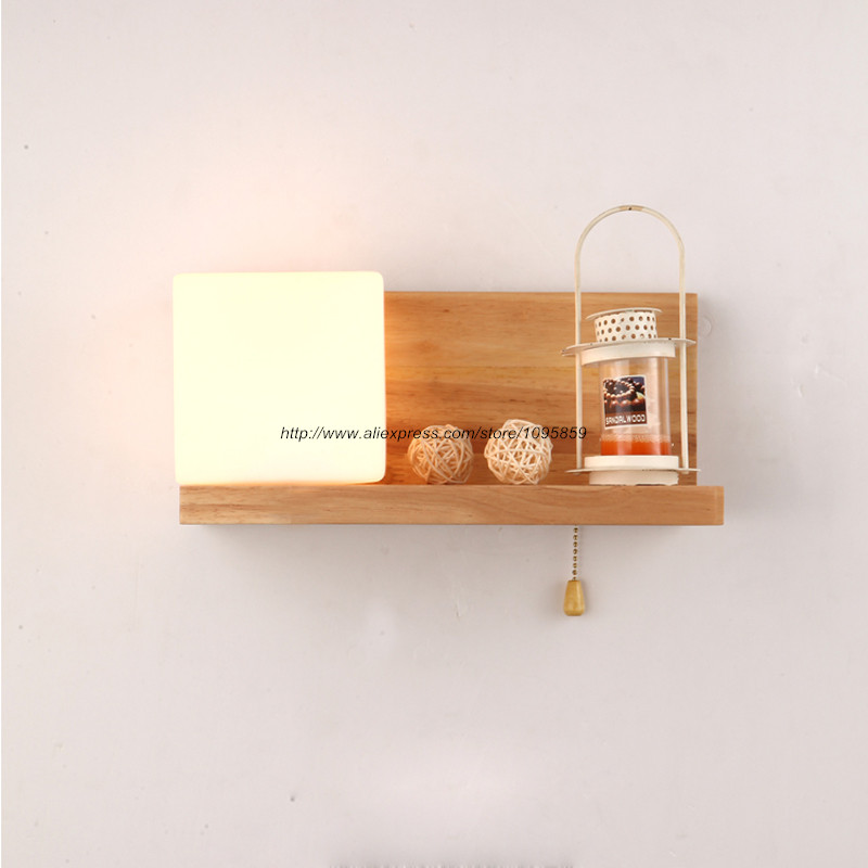 Wall Sconces Shelf : Free Shipping Modern Wood Wall Lamps Lights Bedroom Milk Glass Shelf Wall Sconces Fixtures-in ...