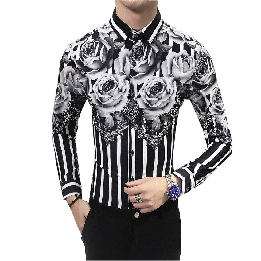 Fashion Men's Printed Long-sleeved Shirt Size S-3XL Business Wedding Banquet Flower Top Shirts Men Slim Comfortable And Elegant