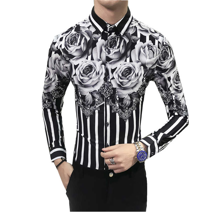 3bb8410e1fc0 Fashion Men's Printed Long-sleeved Shirt Size S-3XL Business Wedding  Banquet Flower Top