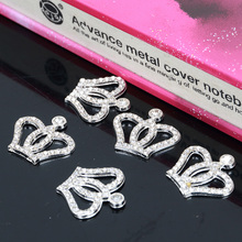 Engood 2018New 20Pcs Rhinestone Small Crown Buttons for Decorative wedding and DIY hair accessories XL08
