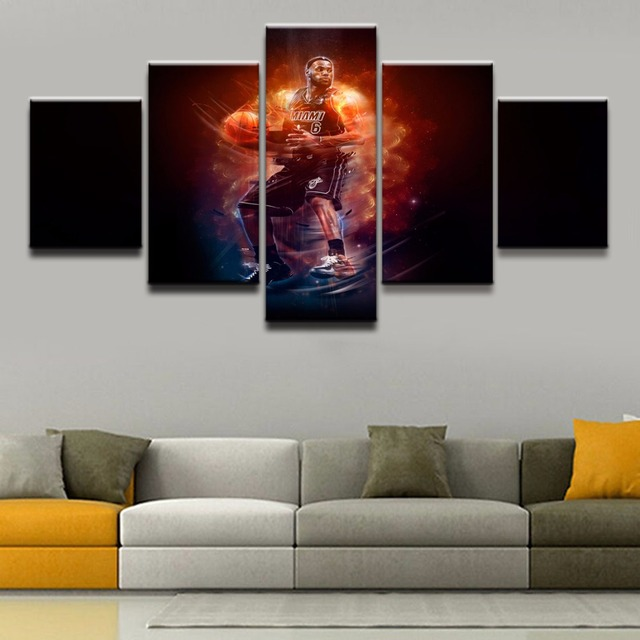 Canvas Prints Pictures Wall Art Framework 5 Pieces Cool Basketball ...