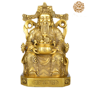 2020 HOME GOOD efficacious Talisman Company shop Inviting Money Martial god of wealth CAI SHEN KAI GUANG brass statue-21CM
