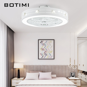 Image 3 - BOTIMI Modern LED Ceiling Fans With Lights For Living Room 220V Cooling Ventilador Round Ceiling Fan Lamp With Remote Control