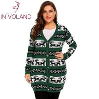 IN'VOLAND Women Christmas Sweater Jacket Plus Size L 4XL Casual V Neck Oversized Long Sleeve Printed Button Cardigan Big Size