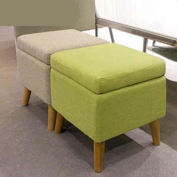 Household Solid Wood Change Shoe Bench Cloth Seat Multifunction Sofa Stool Washable Wooden Storage Stool Stable Dressing Stool - DISCOUNT ITEM  30% OFF All Category