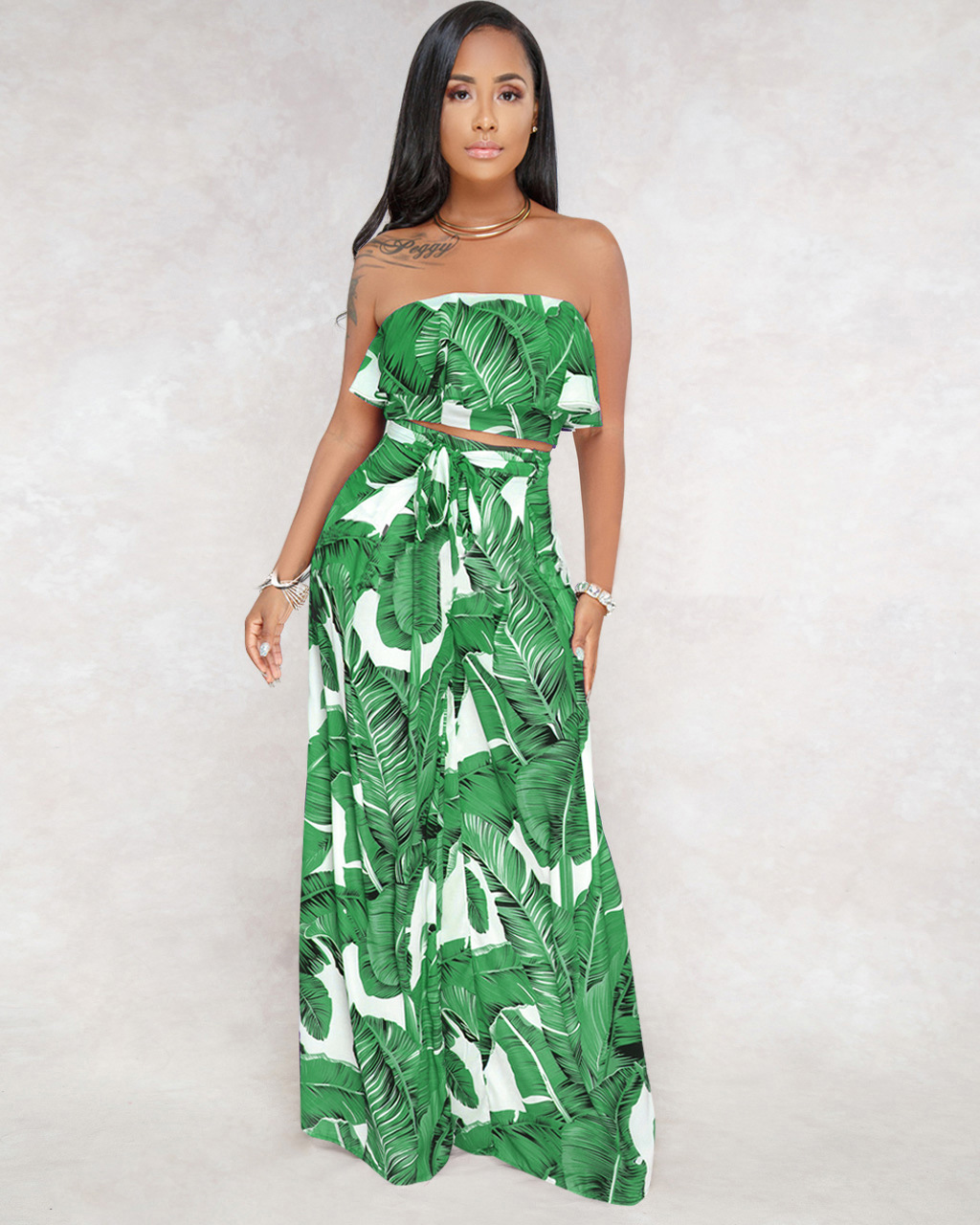 1757c1062dbc Strapless Backless Sexy Jumpsuit Clubwear Women Summer Palm Leaf Print  Romper Women Two Pieces Crop Boho Long Playsuit Overalls
