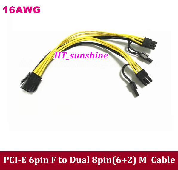 High Quality 16AWG PCI-E 6-pin Female  to Dual 8pin(6+2) Male Power Extension Cable 6pin to 2*8pin video card cable 20cm 60cm pci e gpu 8pin male to dual 8pin 2 6 male video card extension power cable 18awg y type ribbon cable
