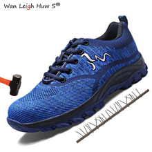 Size 35-46 New mesh breathable Men Work Safety Shoes Steel Toe Casual Non-slip Puncture Outdoor Boots Fashion sneakers