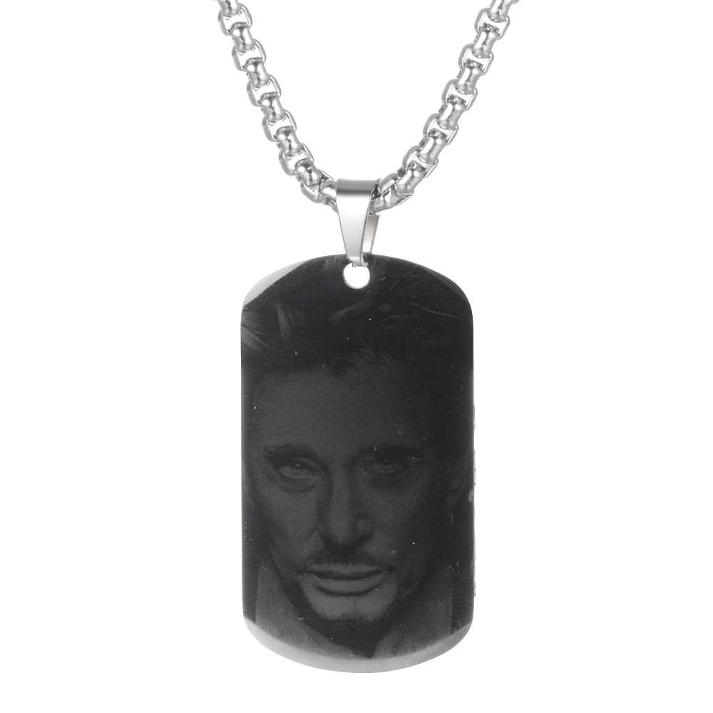 Customized Engraved French Rocker Johnny Hallyday Personalized Photo Necklace Pendant female male bijoux femme