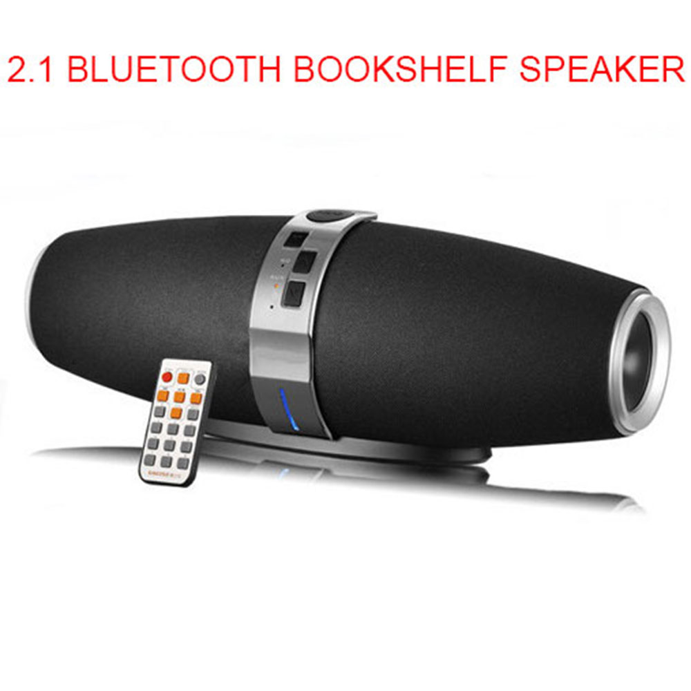 2.1 Portable Bluetooth Wireless Bookshelf Speaker Subwoofer Surround Stereo Tweeter Woofer Rugby Speakers MP3 Player Black