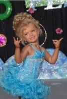 Licht Hemelsblauw Korte Glitz Little Baby meisje Pageant Jurken voor tieners met Halter Crystal Peuter Kids Ritzee Meisje Cupcake B