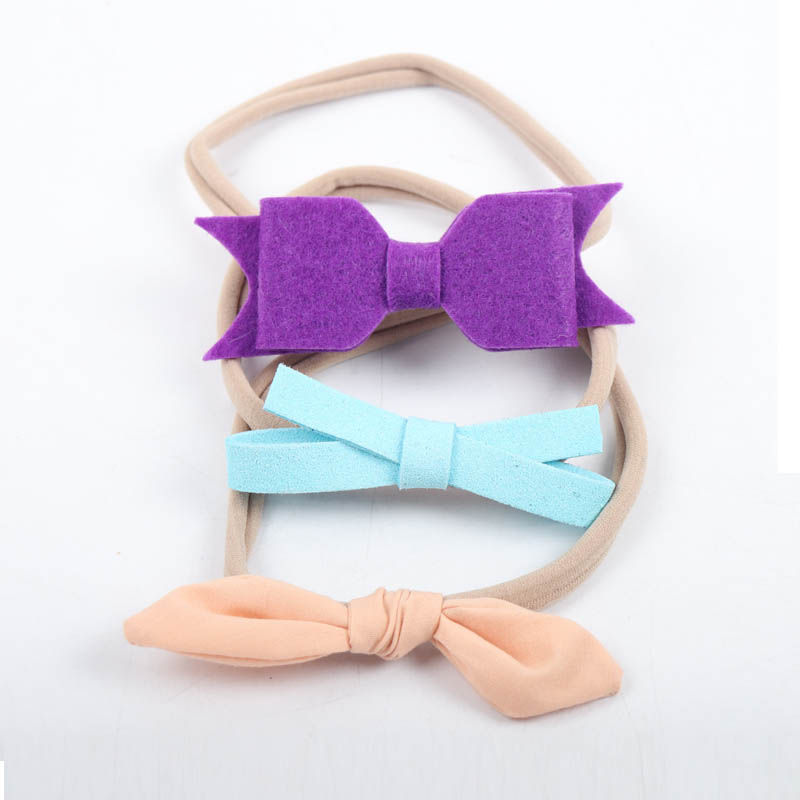 3 Pieces/Set Bow Nylon Headband Flower Hair Band For Kid Girls Knotted Hairband Hair Accessories Headwrap metting joura bohemian vintage black blue chiffon flower big double bow wide headband hairband hair accessories